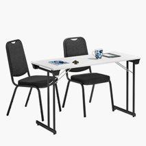 Bord Kongress Style 120x50 cm vit bordsskiva och svart stativ + 2 st Style stolar