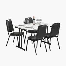 Bord Dinner Style 120x70 cm vit bordsskiva svart stativ + 4 st Style stolar