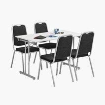 Bord Dinner Style 120x70 cm hvit bordplate sølvgrått stativ + 4 stk. Style stoler