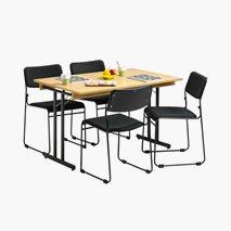 Bord Dinner Style med ramme 120x70 cm bordplate i eik svart stativ + 4 stk. Nice stoler