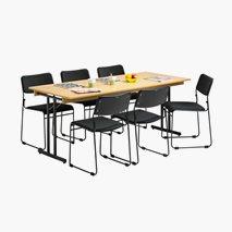 Bord Dinner Style med ram 180x80 cm tabletop i eik svart stativ + 6 st Nice stoler