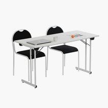 Bord Kongress Style 140x60 cm vit bordsskiva vitt stativ + 2 st RX002 stolar