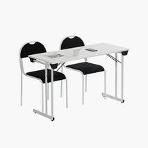 Bord Kongress Style 120x50 cm vit bordsskiva vitt stativ + 2 st RX002 stolar
