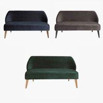 3- sits sofa Öland i fløyel, 3 farger, valgfri farge ben