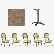 24 st Paris stoler + 12 st bord, 70x70 cm, Bordplate Topalit Utah Brown
