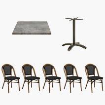 24 st Paris stoler + 12 st Firenze bordsstativ 70x70 cm Tabletop Topalit Concrete