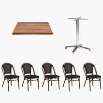 24 st Paris stoler + 12 st bord Roma 70x70 cm Tabletop Topalit Teak