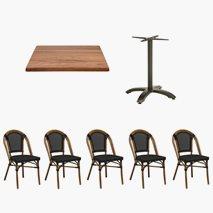 24 st Paris stoler + 12 st Firenze bord 70x70 cm, Bordplate Topalit Teak