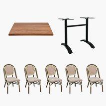 24 st Paris stoler+ 6 st Firenze 4 bord 110x70 cm Tabletop Topalit Teak