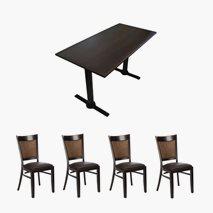 4 stk Daniel stoler + bord 120x70 cm, 4 farger bordplate, stablebar