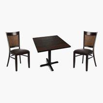 2 stk Daniel stoler + bord, 2 størrelser, 4 farger bordplate