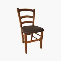 Stol John, stol i valnøtt kunstlær med brun bets 2-pakk