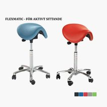 Sadelstole Dalton FlexmaticSeat, sitthøyde 53-77 cm, tekstil eller kunstleder, 5 farger
