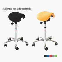 Sadelstol Mini Flexmatic, sitthöjd 53-77 cm, konstläder eller tyg, 5 färger