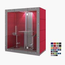 Stille møterom KUBO, ståplasser for 2 personer, stoffvegg på baksiden, glassvegg foran, 209.6x91.4x236.6 cm, flere farger