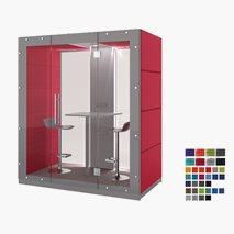 Stille møterom KUBO, ståplass for 2 personer, glassvegg bakside og foran, 209,6x91,4x236,6 cm, flere farger