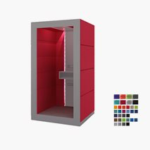 Stille møterom KUBO, ståplass for 1 person, stoffvegg på baksiden, åpen foran, 119x92,6x236,6 cm, flere farger