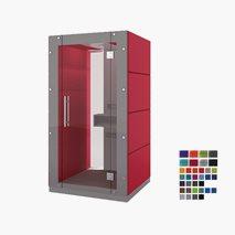 Stille møterom KUBO, ståplass for 1 person, glassvegg foran på bakside og front. 119x92,6x236,6 cm, flere farger