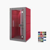 Stille møterom KUBO, ståplass for 1 person, stoffvegg på baksiden, glassvegg foran, 119x92,6x236,6 cm, flere farger