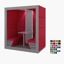 Tyst mötesrum KUBO, sittplats för 4 personer, tygvägg bak, öppen framsida, 209,6x125,7x136,6 cm, flera färger