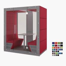 Stille møterom KUBO, sittplass for 4 personer, glassvegg på baksiden og foran, 209,6x125,7x236,6 cm, flere farger
