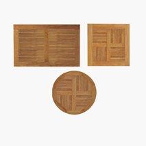Teak bordplater, 6 størrelser, for utemiljø