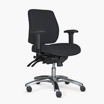 Kontorsstol Pro 20, tyg i sits/rygg, lågt ryggstöd, 3 färger