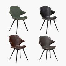 Kairo stol, stoff og kunstleder, svarte ben, 4 färger