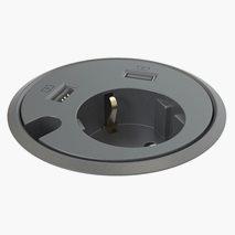 Powerdot Satellite - 1 elektrisk, 2 USB, gjennomgående hull, svart