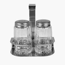 Salt- och pepparset i ställ, rostfritt/glas