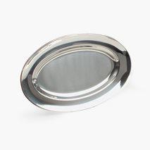 Serveringsfat 41X27 cm, oval, rustfritt stål