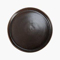 Plate Rhea, Ø27 cm, flat, med kant, feltspatporselen, brun / svart