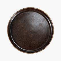 Tallrik Rhea, Ø21 cm, flat, med kant, fältspatporslin, brun/svart