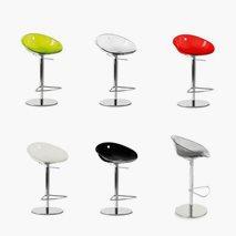 Barstol Gliss justerbar, plast/krom, 6 färger, sitthöjd 60 - 85 cm