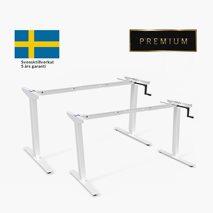 Höj- & sänkbart stativ med vev, vitt stativ, för bordsskiva 100x60 till 180x80