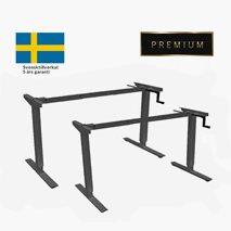 Höj- & sänkbart stativ med vev, svart stativ, för bordsskiva 120x70 till 180x80 cm