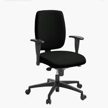 Kontorsstol LD 6135, synkrongunga, svart tyg, armstöd, hjul för hårda golv