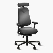 Kontorsstol Höganäs +381, svart tyg, svankstöd, nack-, armstöd, hjul