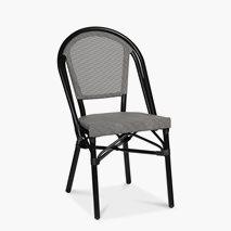 Stol Menton, svart aluminiumsstativ, svart/hvit textilene, setehøyde 46 cm, kan stables