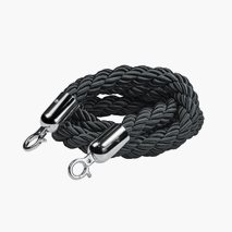Flätat svart rep till köstolpar, svart linne, 150 cm