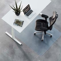 Gulvbeskyttelse standard, klar eller svart, for harde eller myke gulv, størrelser