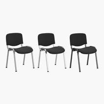 Konferansestol Sofie, svart stoff, kan stables, 3 farger