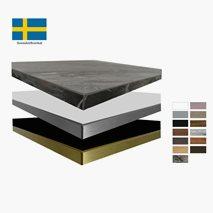 Bordplate, tykkelse 26,7 mm, velg farge på bordplate og kanting, 12 størrelser