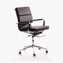 Chromas Daytona kontorstol, lav rygg, svart skinnimitasjon, kromfot, tiltfunksjon