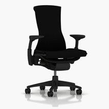 Herman Miller Embody grafitsvart, klädsel Rythm, justerbart armstöd/sittdjup/ryggstödsvinkel