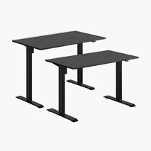 Höj- & sänkbart elskrivbord, svart stativ, svart bordsskiva, 10 storlekar