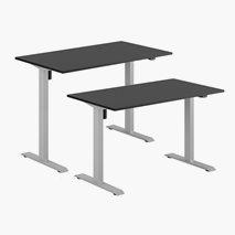 Höj- & sänkbart elskrivbord, grått stativ, svart bordsskiva, 10 storlekar