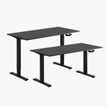 Höj- & sänkbart bord, vev, svart stativ, svart skiva, 10 storlekar