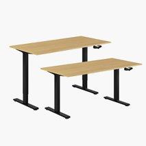 Höj- & sänkbart bord vev, svart stativ, bordsskiva i ek, 8 storlekar