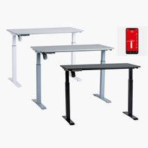 Höj- & sänkbart bordsstativ, DeskFrame II, panel/appstyrning, 3 färger